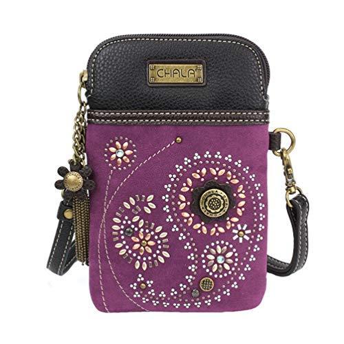 Chala Group Dazzled Paisley Cellphone Crossbody Handbag, Purple, 5″ x 7.5″ x 1″