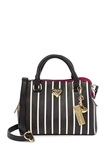 Betsey Johnson Black White Reverse Stripe XOXO Betsey Heart Charm Detachable Charm Triple Entry Satchel Shoulder Bag