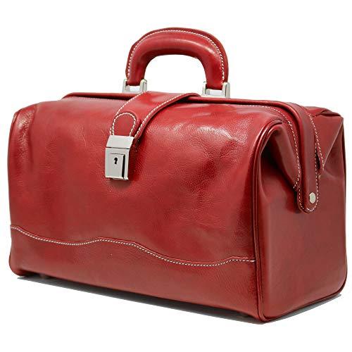 Floto Ciabatta Tuscan Red Leather Doctor Bag Handbag Carryon Brief