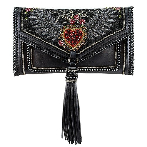 MARY FRANCES That's Amore Embellished Crystal Winged Heart Crossbody Handbag
