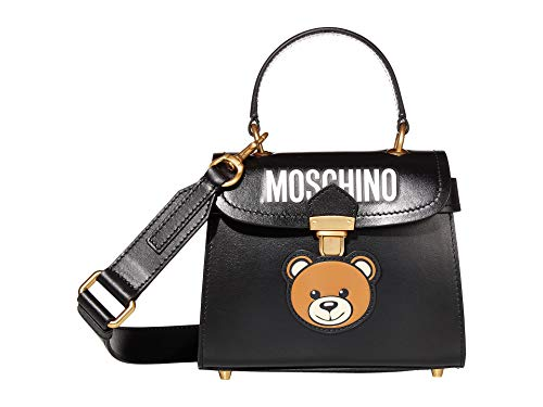Moschino Leather Bear Satchel Fantasy Black One Size