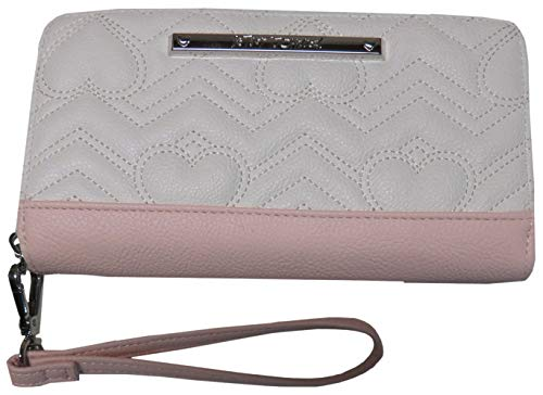 Betsey Johnson Accordian Zip Around Wristlet Wallet Cream/Pink