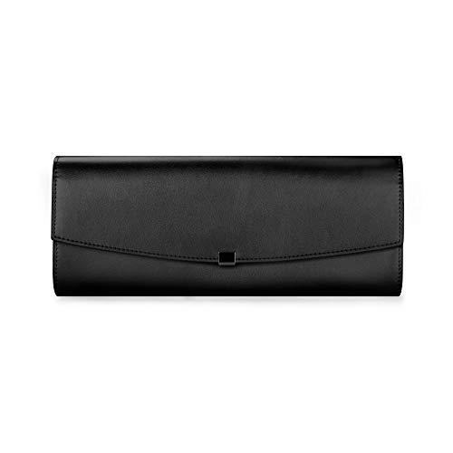 INJOYLIFE Clutch Purse for Women Elegant Mysterious Black Evening Clutch Bag Leather Cowhide Clutch Bag for Women Wedding Prom Party Evening Bag