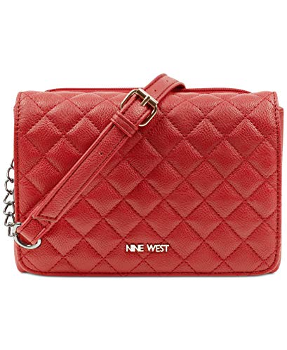 Nine West Hold The Key Small Crossbody (Ruby Red/Silver)