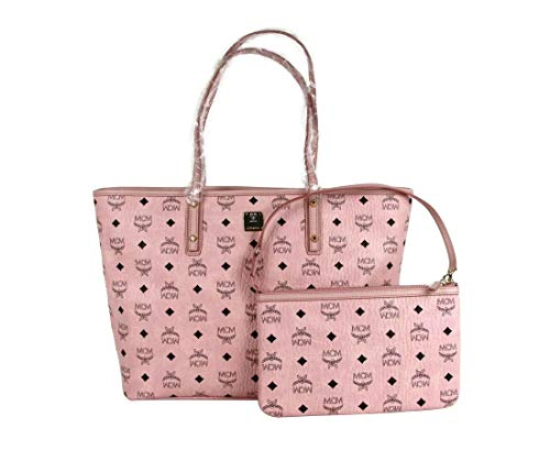 MCM Women's Anya Light Pink Coated Canvas Visetos Zip Top Tote Bag MWP7SVI33PZ001