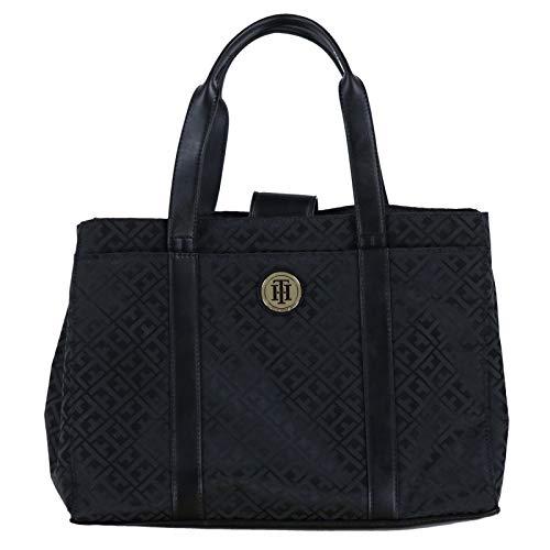 Tommy Hilfiger Jacquard Tote Arm Bag – Black