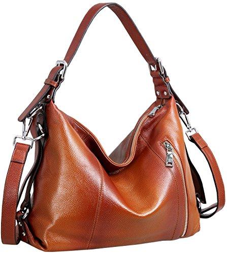 Heshe Vintage Leather Handbags for Women and Ladies Casual Shoulder Handbag Tote Top Handle Bag Satchel Purses (Top Grain Leather-Sorrel)