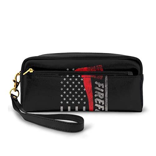 The Fireman's Ax Flag Of The Red Line Canvas Makeup Bag Pouch Purse Handbag Organizer with Zipper