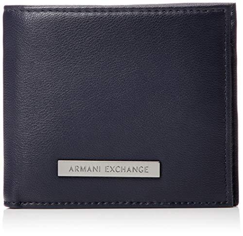 Armani Exchange Men's Bifold Coin Pocket, navy/chocolatetruffle, ONE SIZE