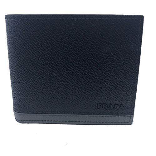 Prada Portafoglio Black Nero Baltico Grey Vitello Micro Grain Leather Wallet 2MO513