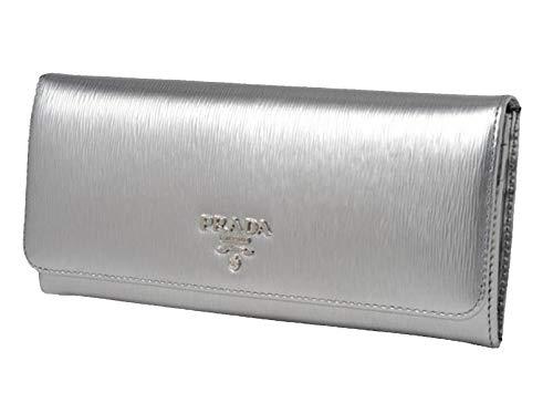 Prada Women's Metallic Cromo Silver Vitello Move Long Leather Flap Wallet 1MH132