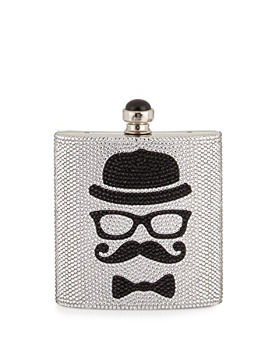 Judith Leiber Couture Crystal Flask Face Clutch, Silver/Black