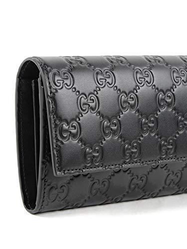Gucci Black Signature Calf Wallet GG Leather clutch Purse New