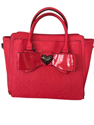 Betsey Johnson Red Diamond Heart Etched Double Faux Patent Bow Heart Charm Satchel Shoulder Bag