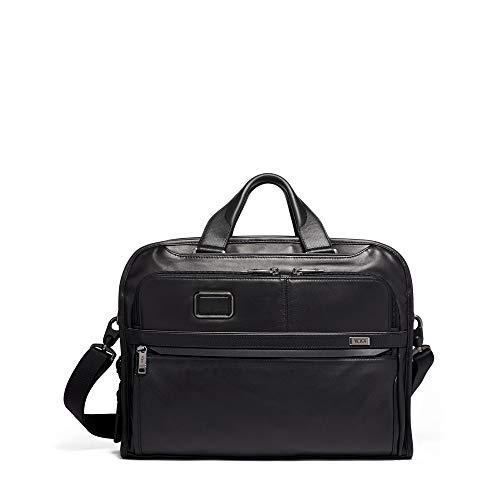 TUMI – Alpha 3 Organizer Portfolio Bag Brief Briefcase – Leather Briefcase for Men and Women – Black