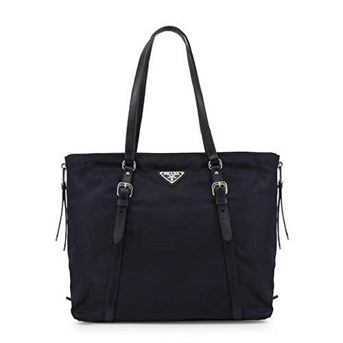 Prada Navy Tessuto Nylon Soft Calf Leather Trim Shopping Tote Handbag 1BG228