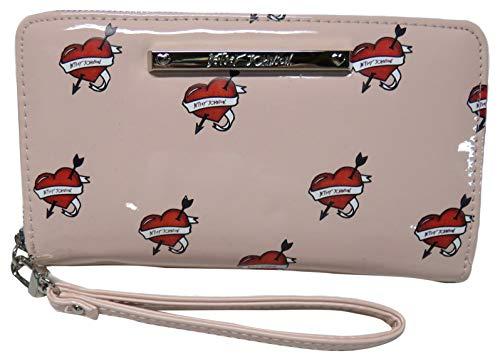Betsey Johnson Women's Wristlet Wallet, Pink/Hearts