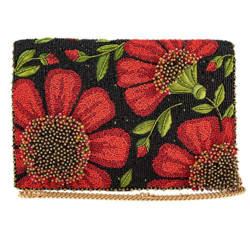 Mary Frances Wallflower Beaded Crossbody Clutch Handbag