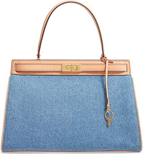 Tory Burch Women's Lee Radziwill Denim & Leather Satchel Handbag