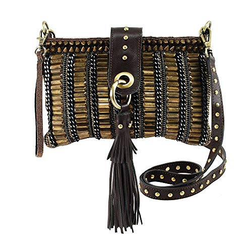 Mary Frances Be Strong Embellished Leather Crossbody Handbag