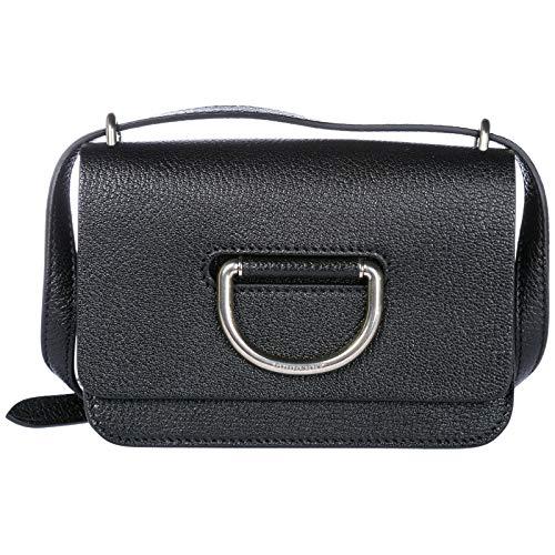 Burberry women's leather cross-body messenger shoulder bag D-Ring black