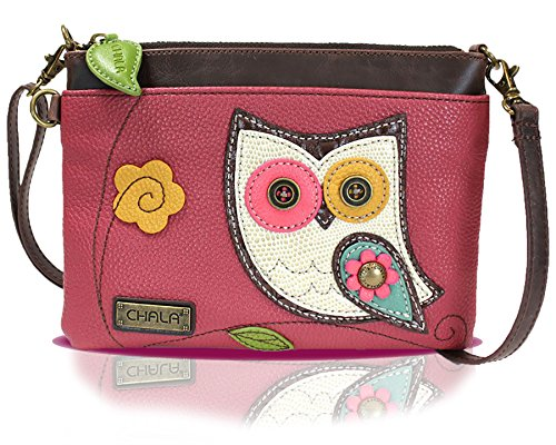 Chala Mini Crossbody Handbag, Multi Zipper, Pu Leather, Small Shoulder Purse Adjustable Strap – Owl – Dark Pink, 8.25″ wide 6″ high x 0.50″ deep