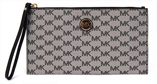 Mickael Kors Fulton Grey, Black Zip Clutch Wristlet Case