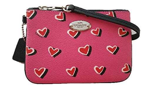 Coach Small Wristlet in Heart Print Canvas F52560