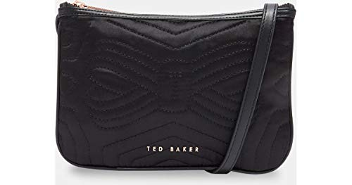 Ted Baker Quilted Bow Double Pouch Crossbody (Black)
