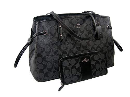 New Coach C Signature Purse Satchel Hand Bag & Zip Wallet 2 Piece Set Black Gray
