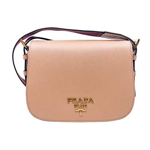 Prada Women Saffiano Leather Web Strap Cross Body Shoulder Bag Beige 1BD192