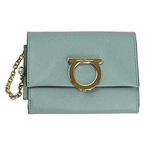 Salvatore Ferragamo Gancini Blue Leather Bifold Wallet 22D463 Blue Haze