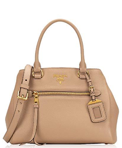 Prada Womens Vitello Phenix Beige Cammeo Leather Satchel Handbag 1BG044