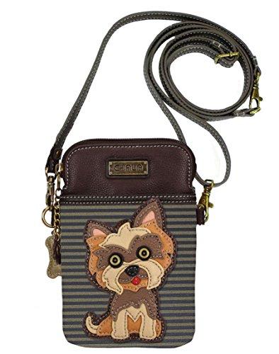 Chala Group Yorkshire Terrier Cellphone Crossbody Handbag – Convertible Strap Yorkie Mom, Brown Stripes, 5″ x 7.5″ x 1″