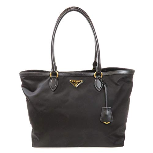 Prada Black Tesutto Nylon w Calf Leather Trim Shopping Tote Handbag 1BG158