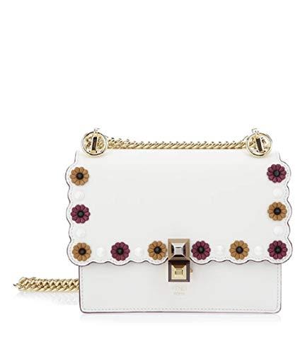 Fendi Womens Kan I White Multi Color Flowers Soft Leather Shoulder Bag 8M0381
