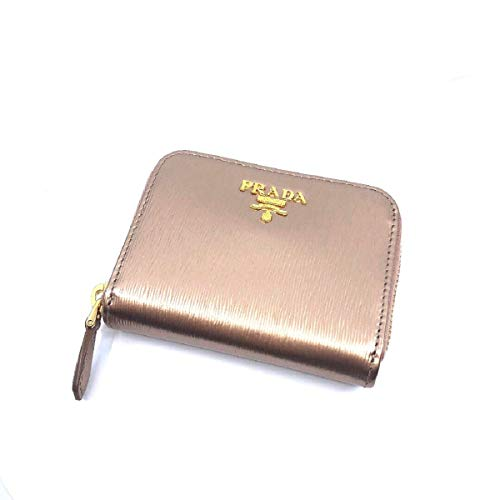 Prada Portamonete Vitello Move Rose Gold Metallic Leather Zip Around Wallet 1MM268