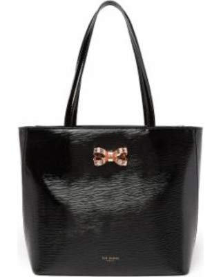 Ted Baker Looped Bow Leather Shopper Tote – Black with Pink Bow