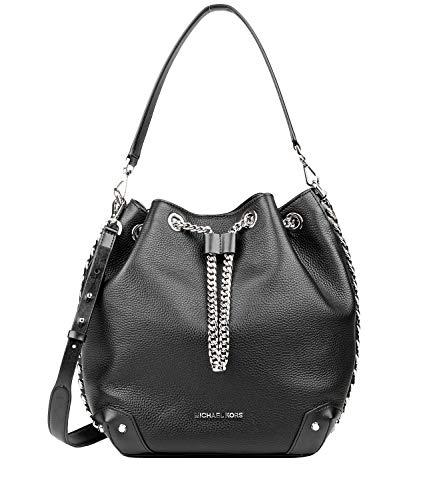 Michael Kors Women's Michael Kors Alanis Shoulder Bag In Black Grained Leather Black