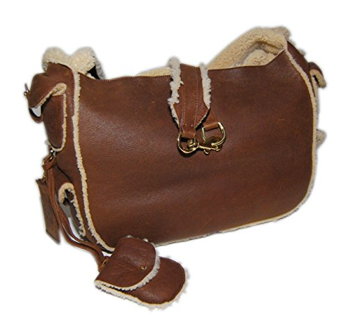 Ralph Lauren Purple Label Collection Shearling Leather Handbag Tote Italy Brown