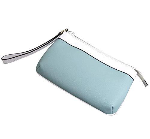 Gucci Large Blue Wristlet Clutch Leather Trim Evening Bag