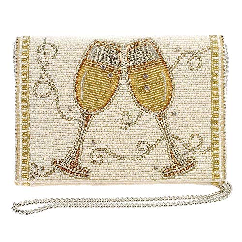 Mary Frances Champagne Taste Beaded Crossbody Clutch Purse, Ivory