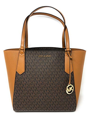 Michael Kors Large Kimberly Signature Shoulder Tote Bag Brown Acorn