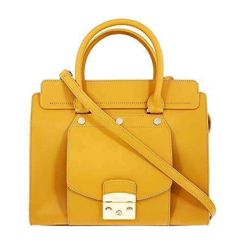 Furla Metropolis Magia Ladies Medium Yellow Ginestra Leather Satchel 978005