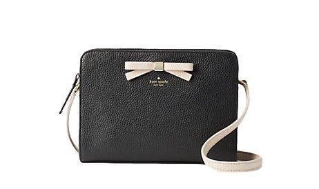 Kate Spade New York Henderson Street Fannie Leather Crossbody Bag in Black/Pumice