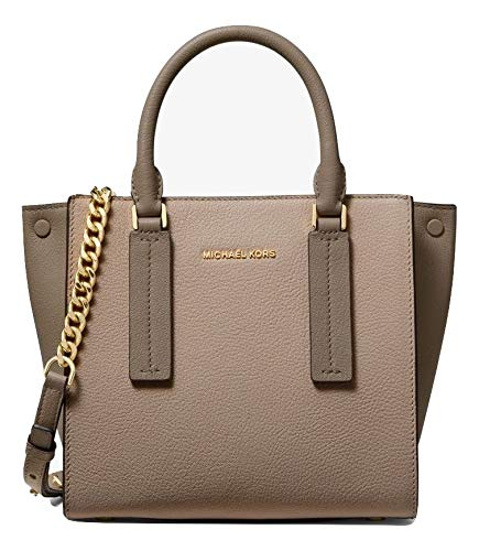 Michael Kors Alessa Small Color-Block Pebbled Leather Satchel Truffle Mushroom