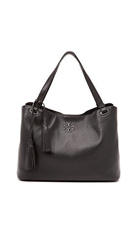 Tory Burch Thea Center Zip Tote, Black Leather