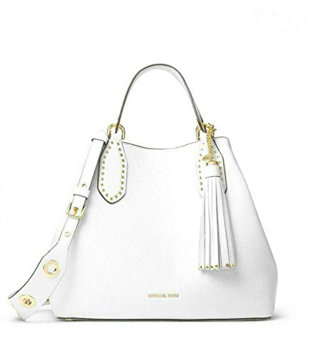 Michael Kors Brooklyn Large Pebbled Leather Satchel in Optic White