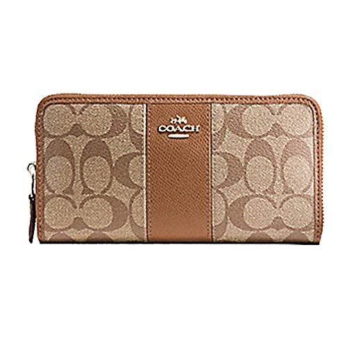 Coach ACCORDION ZIP WALLET IN SIGNATURE COATED CANVAS WITH LEATHER STRIPE, Khaki, 7.5 in x 4 in x 1 in