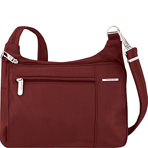 Travelon Anti-Theft Asymmetric East/West Bag – Small Nylon Crossbody for Travel & Everyday – (Wine/Gray Interior)